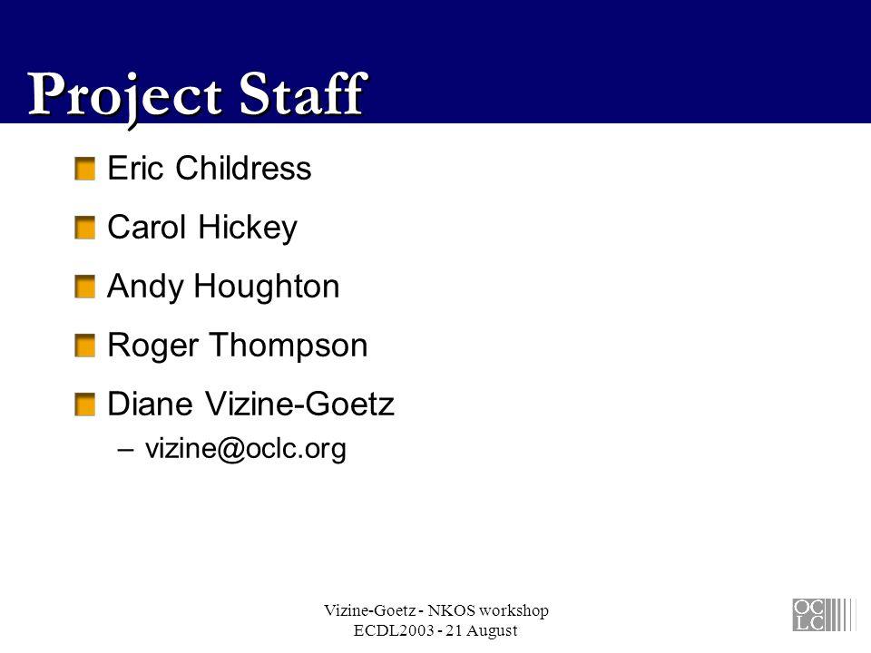 Vizine-Goetz - NKOS workshop ECDL2003 - 21 August Project Staff Eric Childress Carol Hickey Andy Houghton Roger Thompson Diane Vizine-Goetz –vizine@oc