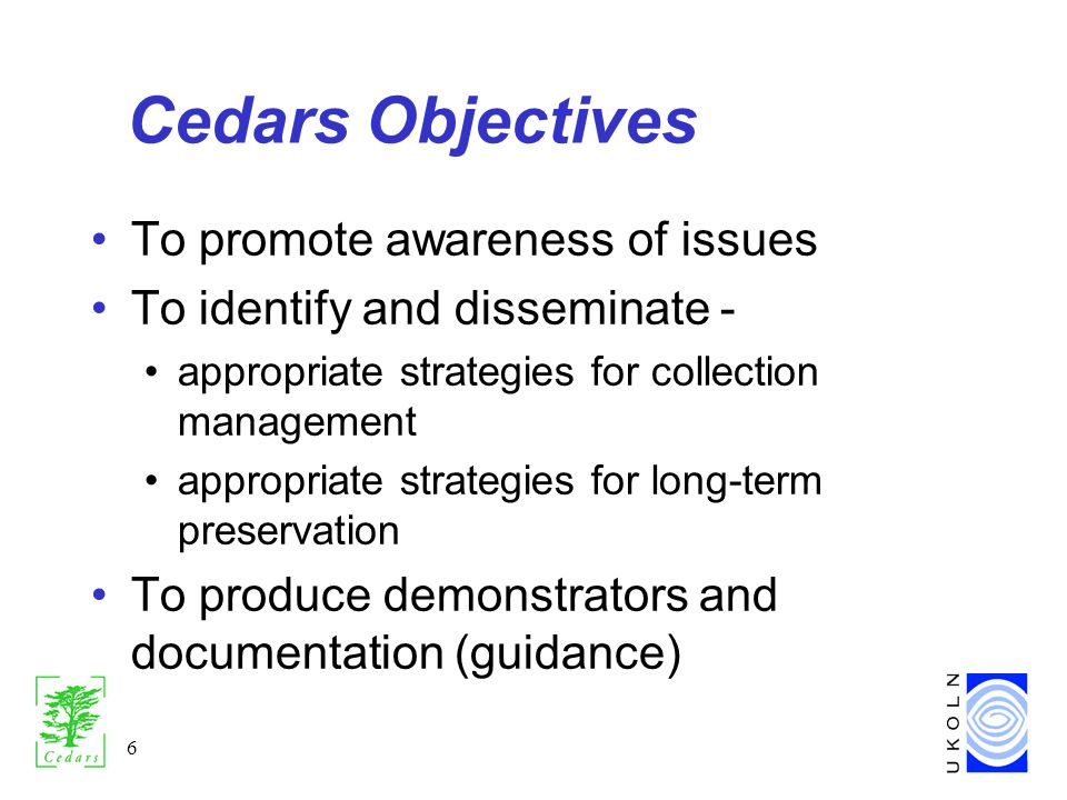 6 Cedars Objectives To promote awareness of issues To identify and disseminate - appropriate strategies for collection management appropriate strategies for long-term preservation To produce demonstrators and documentation (guidance)