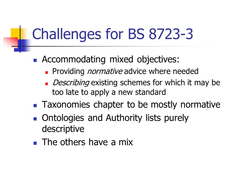 Challenges for BS 8723-3 Accommodating mixed objectives: Providing normative advice where needed Describing existing schemes for which it may be too l