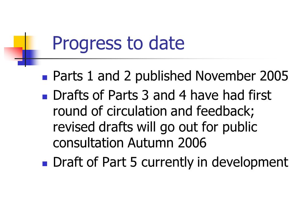 Progress to date Parts 1 and 2 published November 2005 Drafts of Parts 3 and 4 have had first round of circulation and feedback; revised drafts will g