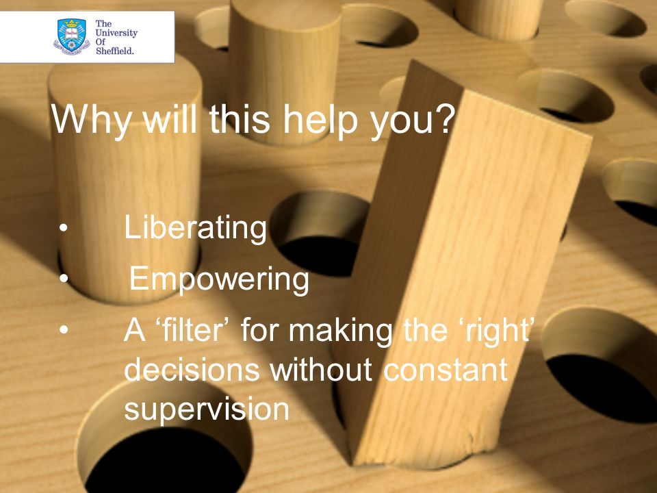 Why will this help you? Liberating Empowering A filter for making the right decisions without constant supervision