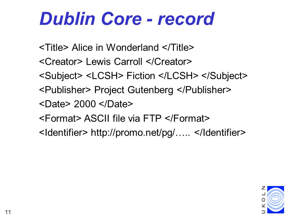 11 Dublin Core - record Alice in Wonderland Lewis Carroll Fiction Project Gutenberg 2000 ASCII file via FTP http://promo.net/pg/…..