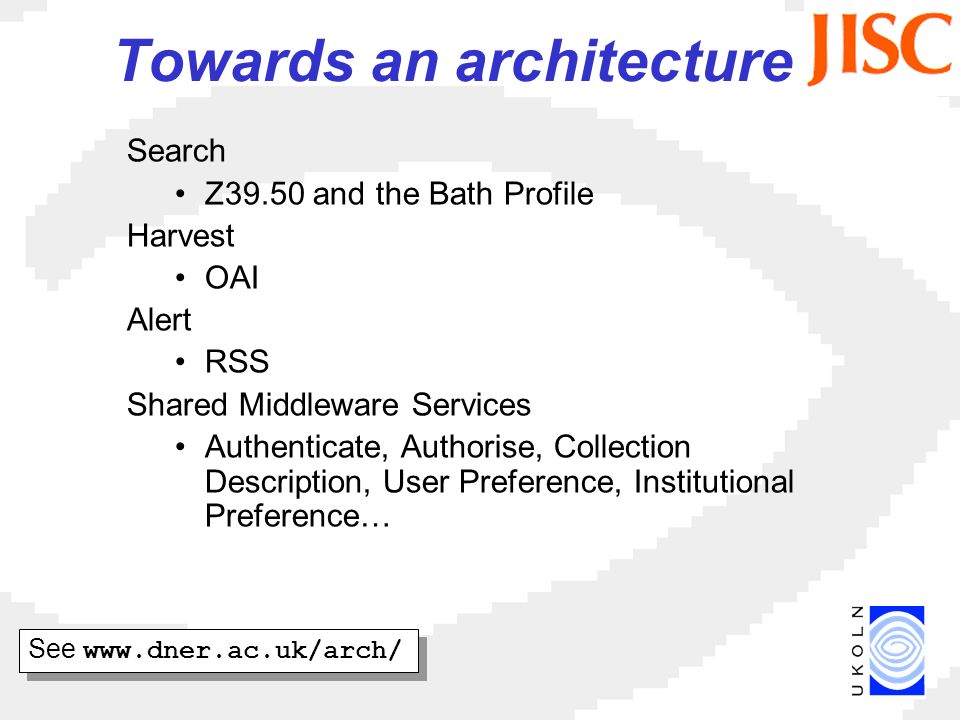 Towards an architecture Search Z39.50 and the Bath Profile Harvest OAI Alert RSS Shared Middleware Services Authenticate, Authorise, Collection Description, User Preference, Institutional Preference… See