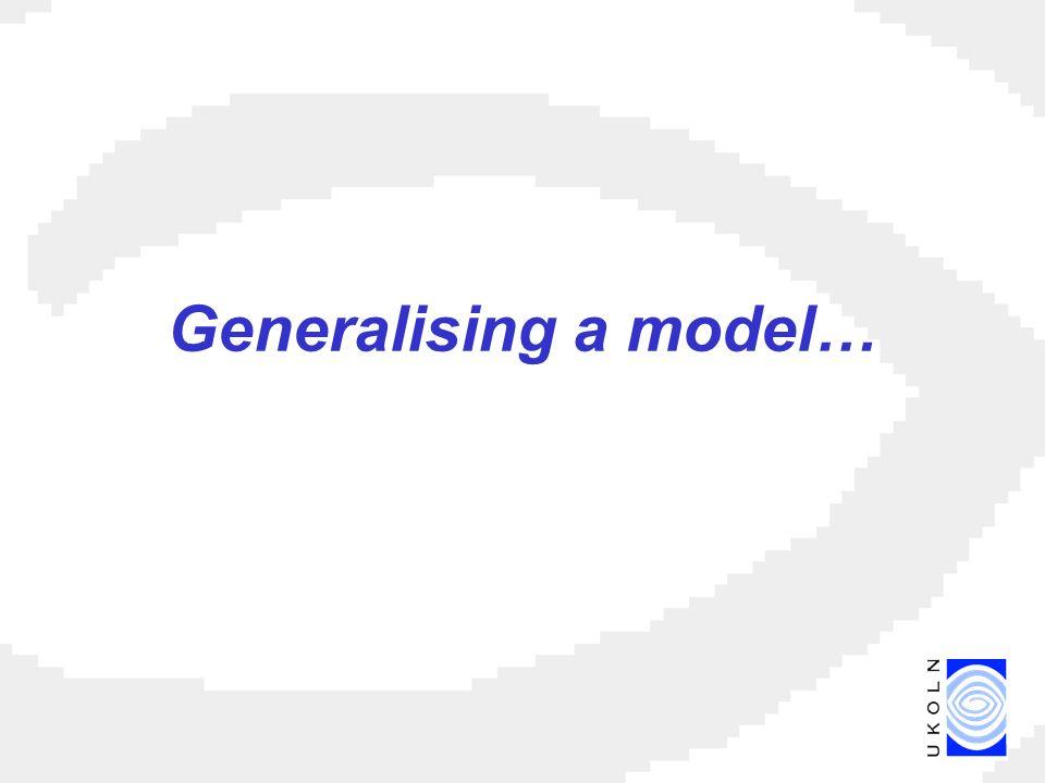 Generalising a model…