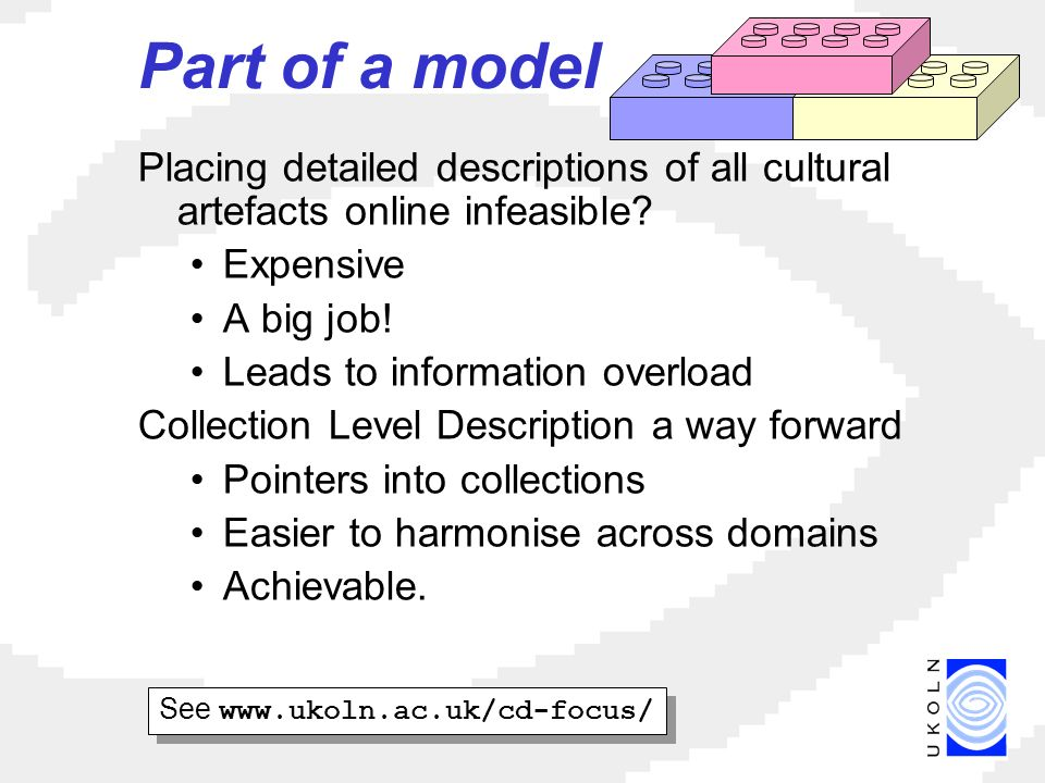 Part of a model Placing detailed descriptions of all cultural artefacts online infeasible.
