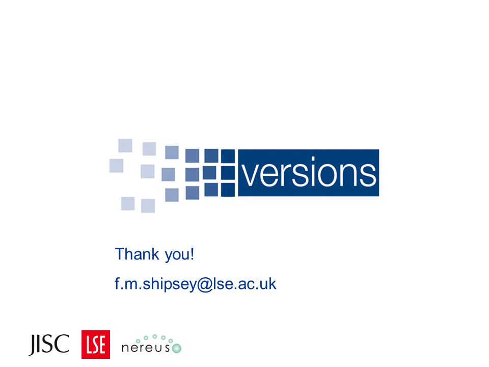 Thank you! f.m.shipsey@lse.ac.uk