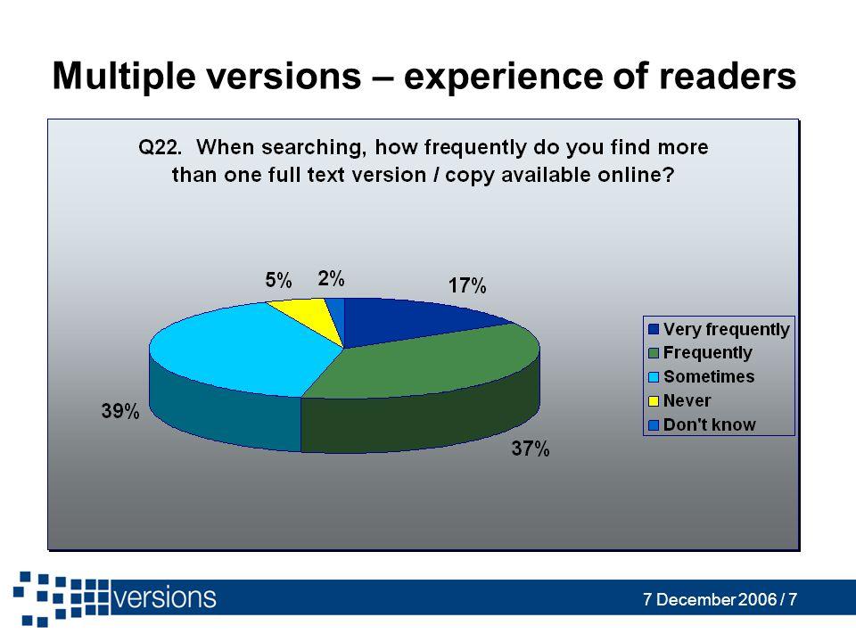 7 December 2006 / 7 Multiple versions – experience of readers