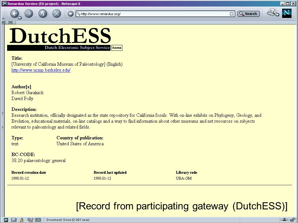 JISC Terminology Services Workshop, London, 13 February 2004 [Record from participating gateway (DutchESS)]