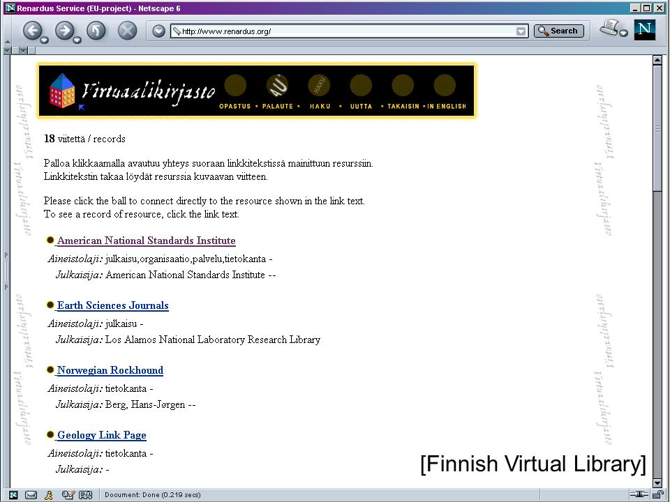 JISC Terminology Services Workshop, London, 13 February 2004 [Finnish Virtual Library]