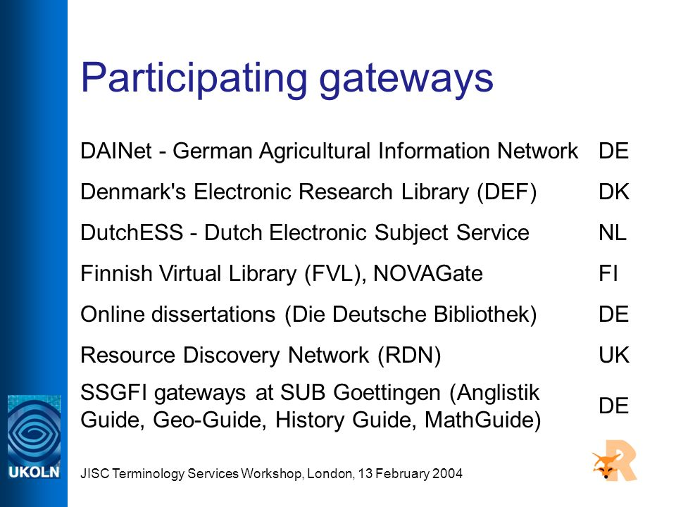 JISC Terminology Services Workshop, London, 13 February 2004 Participating gateways DAINet - German Agricultural Information NetworkDE Denmark's Elect