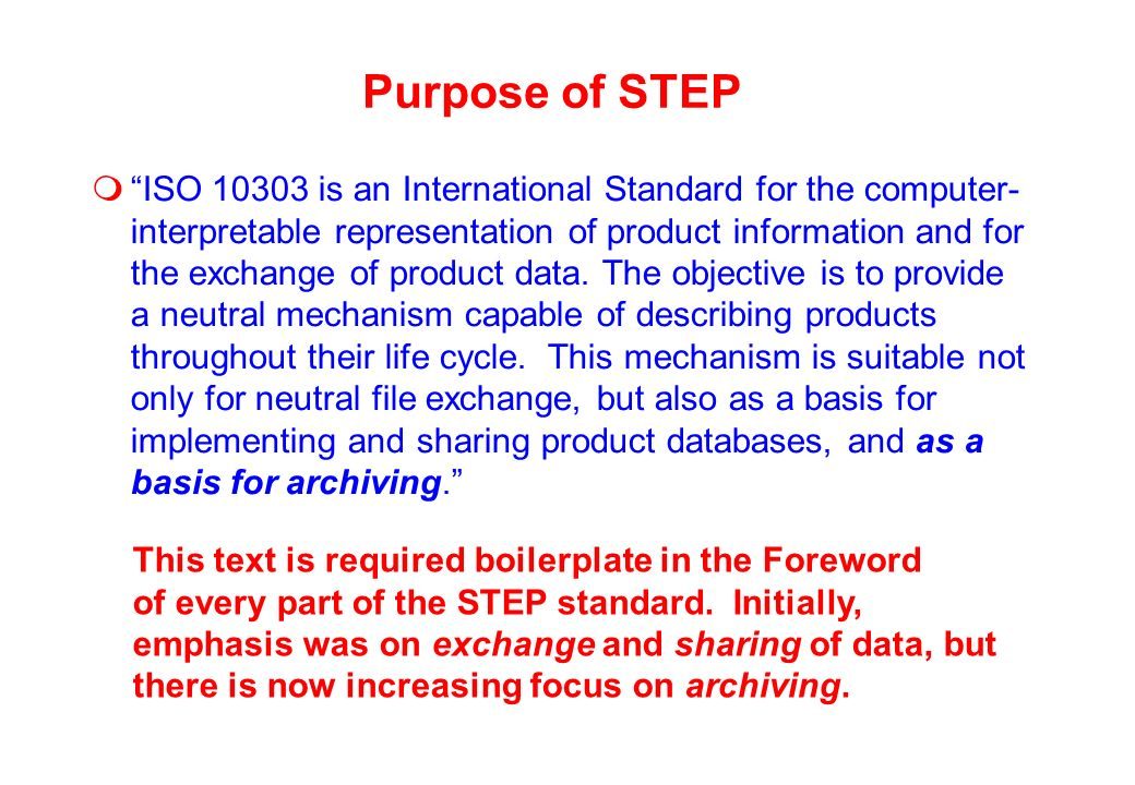 STEP neutral file philosophy F ED C BA F ED C BA STEP Neutral file method: 12 translators for 6 systems (STEP suitable for archiving) Direct translation: 30 translators for 6 systems (what do we archive?)