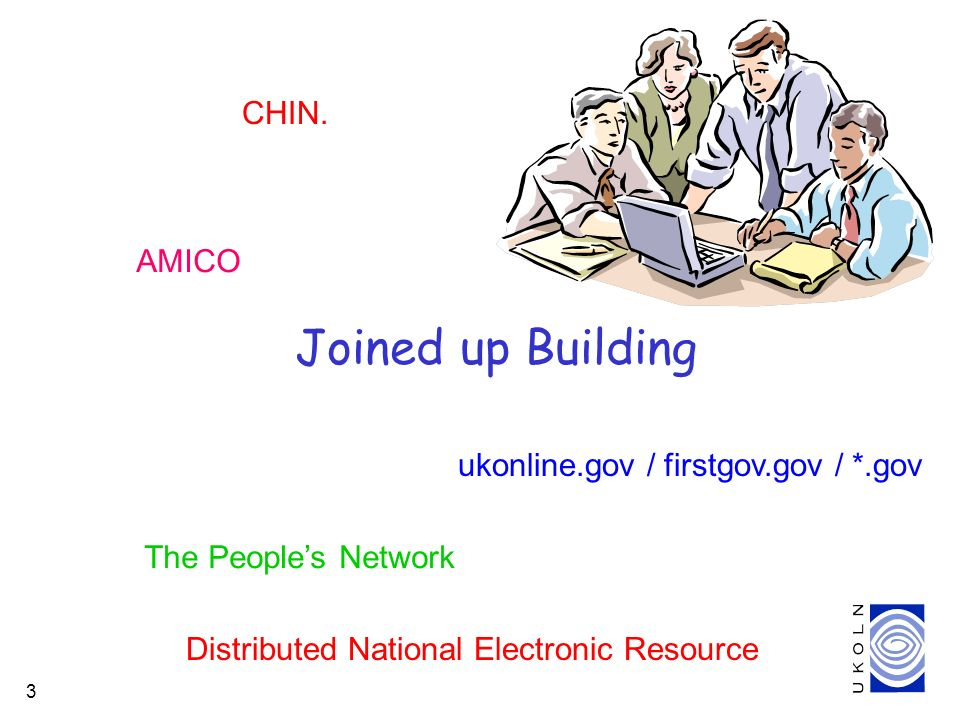 3 Joined up Building The Peoples Network Distributed National Electronic Resource ukonline.gov / firstgov.gov / *.gov AMICO CHIN.