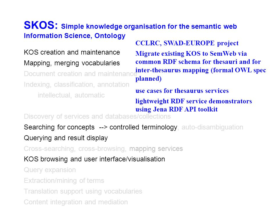 SKOS: Simple knowledge organisation for the semantic web Information Science, Ontology KOS creation and maintenance Mapping, merging vocabularies Document creation and maintenance Indexing, classification, annotation intellectual, automatic Discovery of services and databases/collections Searching for concepts --> controlled terminology, auto-disambiguation Querying and result display Cross-searching, cross-browsing, mapping services KOS browsing and user interface/visualisation Query expansion Extraction/mining of terms Translation support using vocabularies Content integration and mediation CCLRC, SWAD-EUROPE project Migrate existing KOS to SemWeb via common RDF schema for thesauri and for inter-thesaurus mapping (formal OWL spec planned) use cases for thesaurus services lightweight RDF service demonstrators using Jena RDF API toolkit