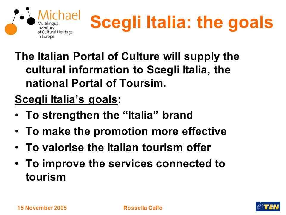 15 November 2005Rossella Caffo Scegli Italia: the goals The Italian Portal of Culture will supply the cultural information to Scegli Italia, the national Portal of Toursim.