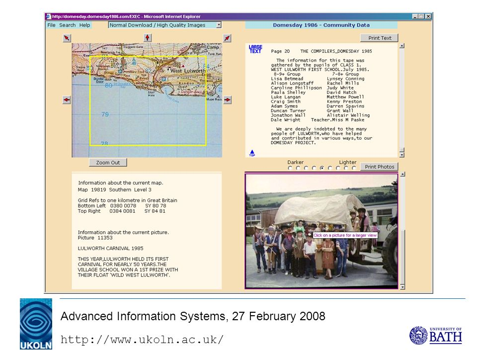 http://www.ukoln.ac.uk/ Advanced Information Systems, 27 February 2008