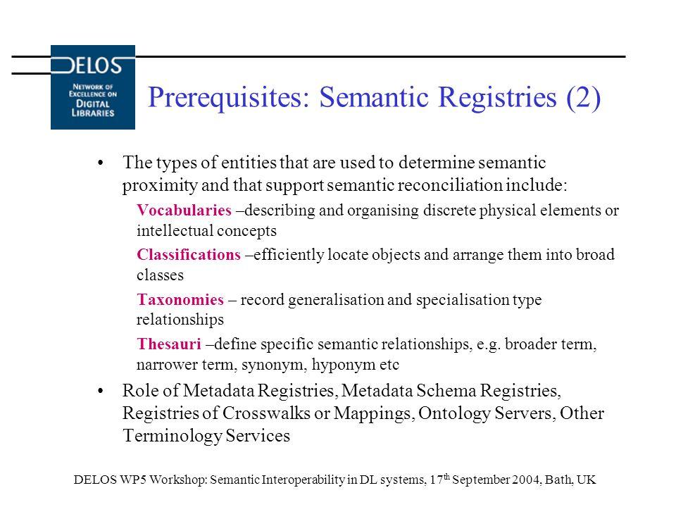 DELOS WP5 Workshop: Semantic Interoperability in DL systems, 17 th September 2004, Bath, UK Prerequisites: Semantic Registries (2) The types of entiti
