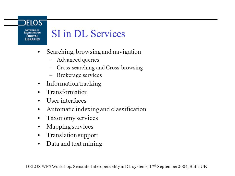 DELOS WP5 Workshop: Semantic Interoperability in DL systems, 17 th September 2004, Bath, UK SI in DL Services Searching, browsing and navigation –Advanced queries –Cross-searching and Cross-browsing –Brokerage services Information tracking Transformation User interfaces Automatic indexing and classification Taxonomy services Mapping services Translation support Data and text mining