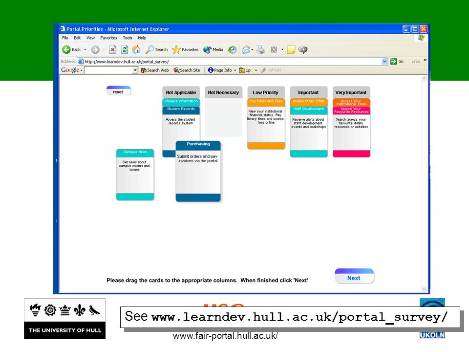 www.fair-portal.hull.ac.uk/ See www.learndev.hull.ac.uk/portal_survey/