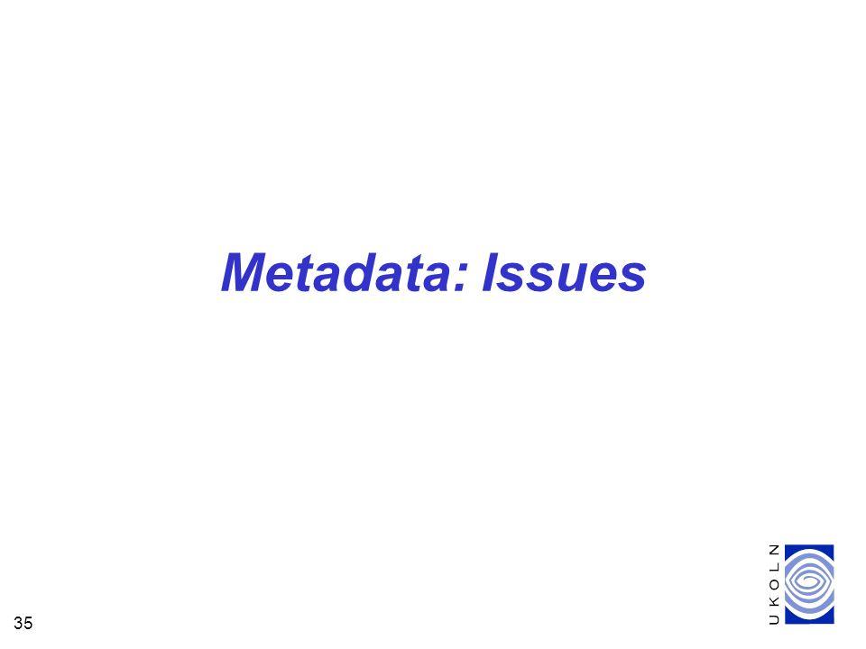 35 Metadata: Issues