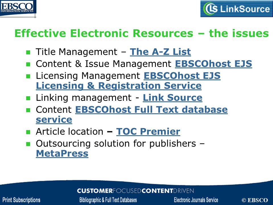 LinkSource Configuration © EBSCO Title Management – The A-Z ListThe A-Z List Content & Issue Management EBSCOhost EJSEBSCOhost EJS Licensing Managemen