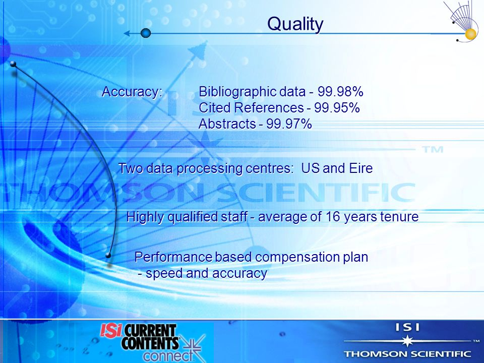 Quality Accuracy:Bibliographic data - 99.98% Cited References - 99.95% Abstracts - 99.97% Accuracy:Bibliographic data - 99.98% Cited References - 99.9