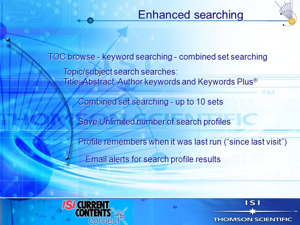 Enhanced searching Profile remembers when it was last run (since last visit) Email alerts for search profile results Save Unlimited number of search p