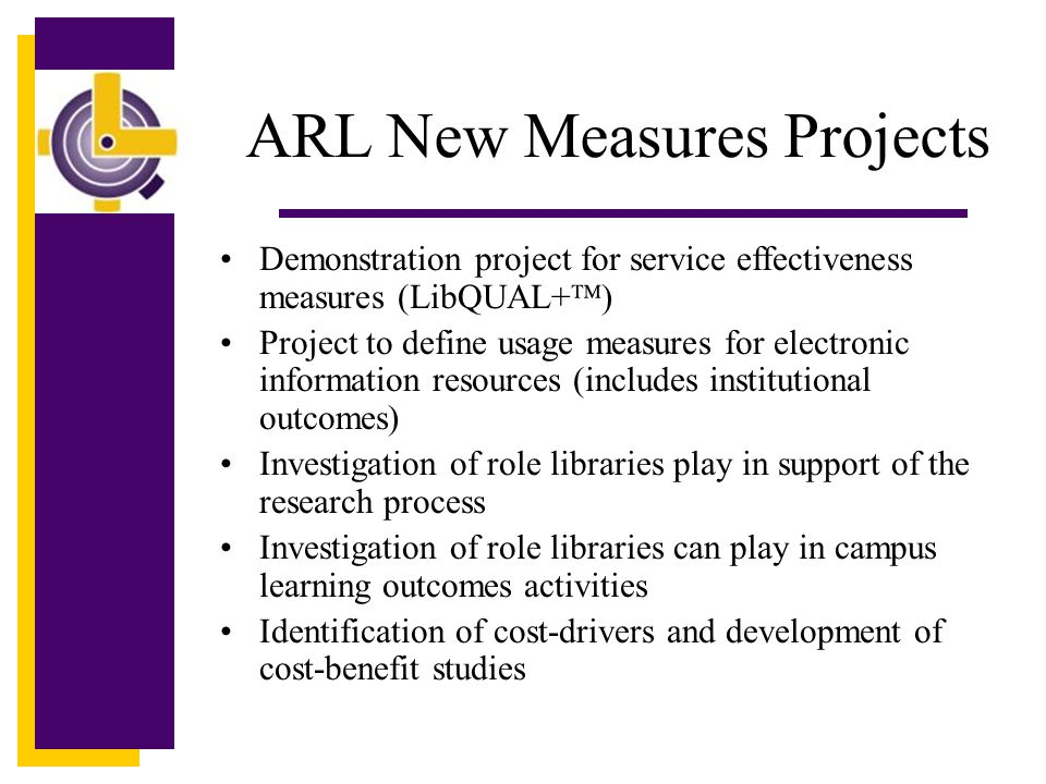 ARL New Measures Projects Demonstration project for service effectiveness measures (LibQUAL+ ) Project to define usage measures for electronic information resources (includes institutional outcomes) Investigation of role libraries play in support of the research process Investigation of role libraries can play in campus learning outcomes activities Identification of cost-drivers and development of cost-benefit studies