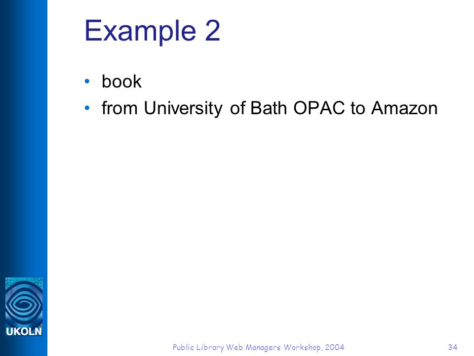 Public Library Web Managers Workshop, 200434 Example 2 book from University of Bath OPAC to Amazon