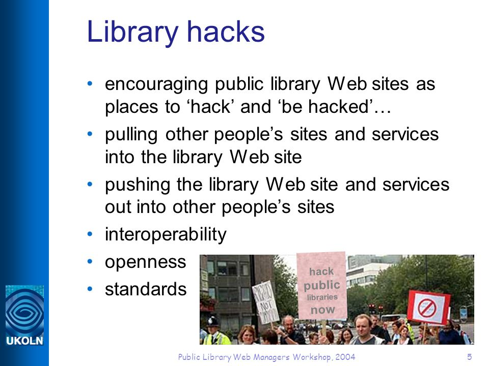 Public Library Web Managers Workshop, 200436 OpenURL resolver offering context-sensitive links, including link to Amazon