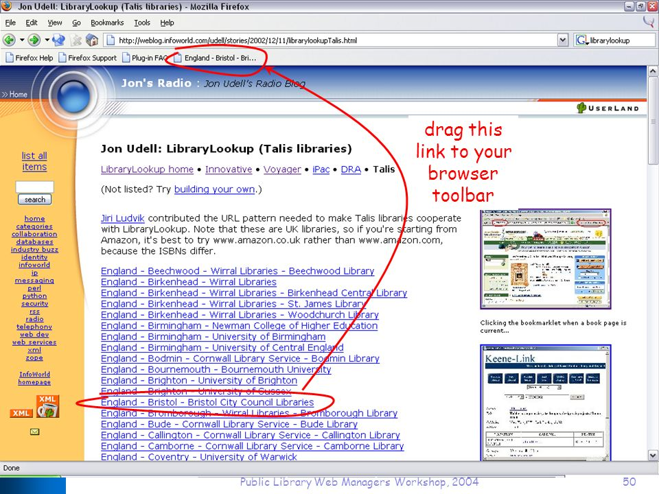 Public Library Web Managers Workshop, 200450 drag this link to your browser toolbar
