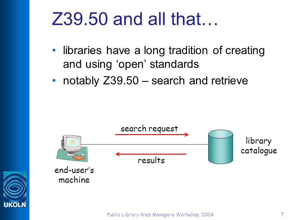 Public Library Web Managers Workshop, 20047 Z39.50 and all that… libraries have a long tradition of creating and using open standards notably Z39.50 – search and retrieve end-users machine library catalogue search request results