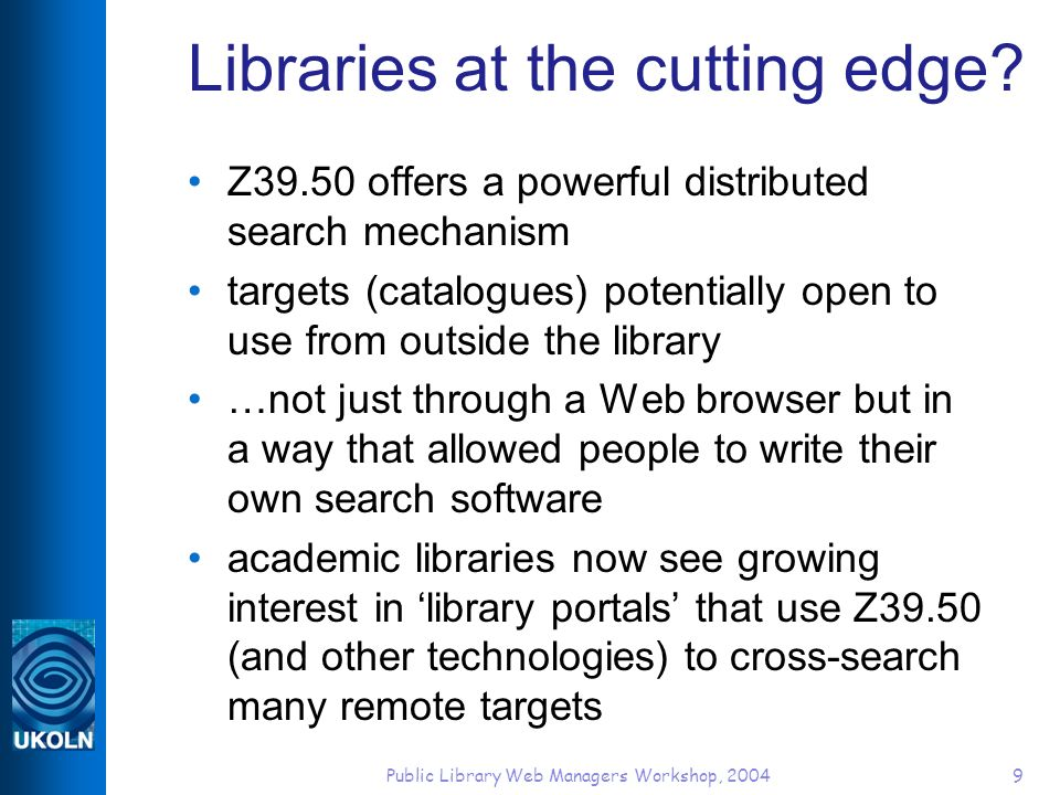 Public Library Web Managers Workshop, 200430 OpenURL resolver offering context-sensitive links, including link to ingenta