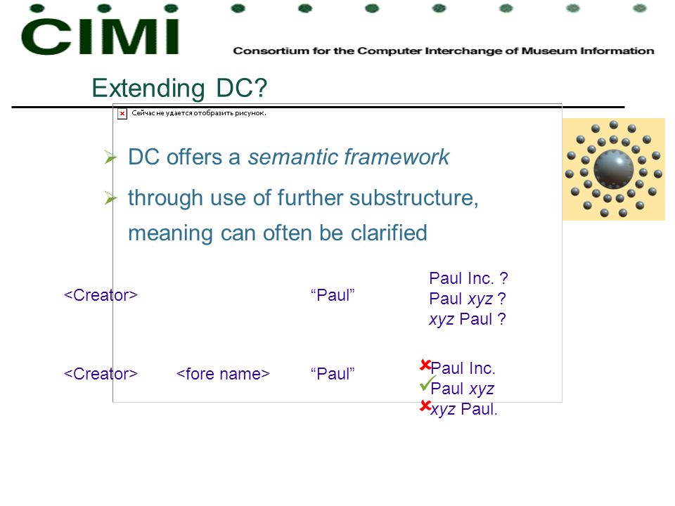 Extending DC? DC offers a semantic framework through use of further substructure, meaning can often be clarified Paul Paul Inc. ? Paul xyz ? xyz Paul