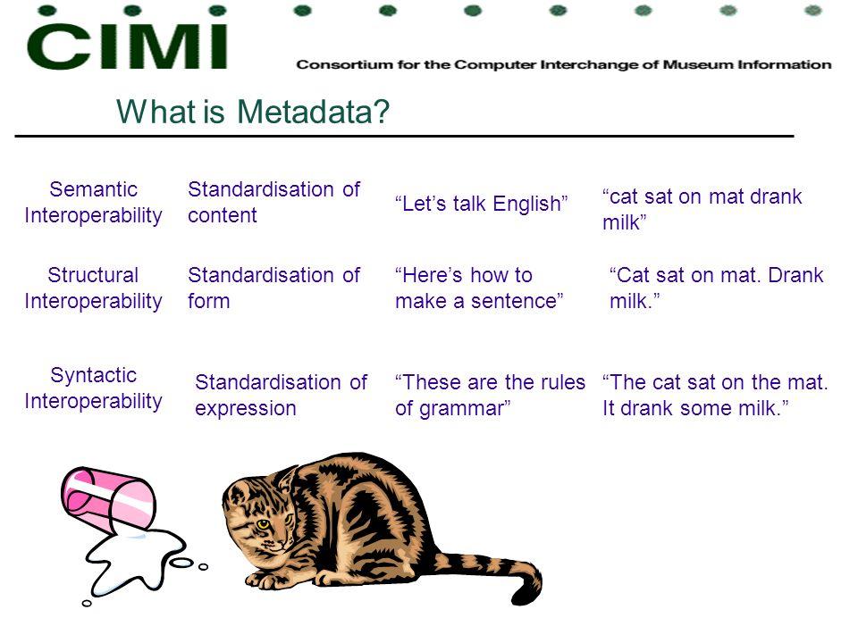 What is Metadata? Semantic Interoperability Structural Interoperability Syntactic Interoperability Lets talk English Standardisation of content Standa