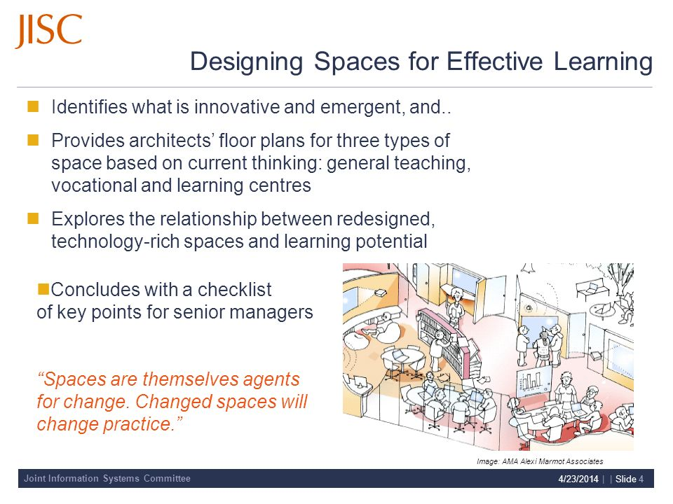 Joint Information Systems Committee 4/23/2014 | | Slide 4 Designing Spaces for Effective Learning Identifies what is innovative and emergent, and..