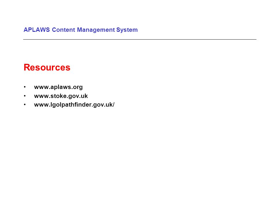 APLAWS Content Management System Resources