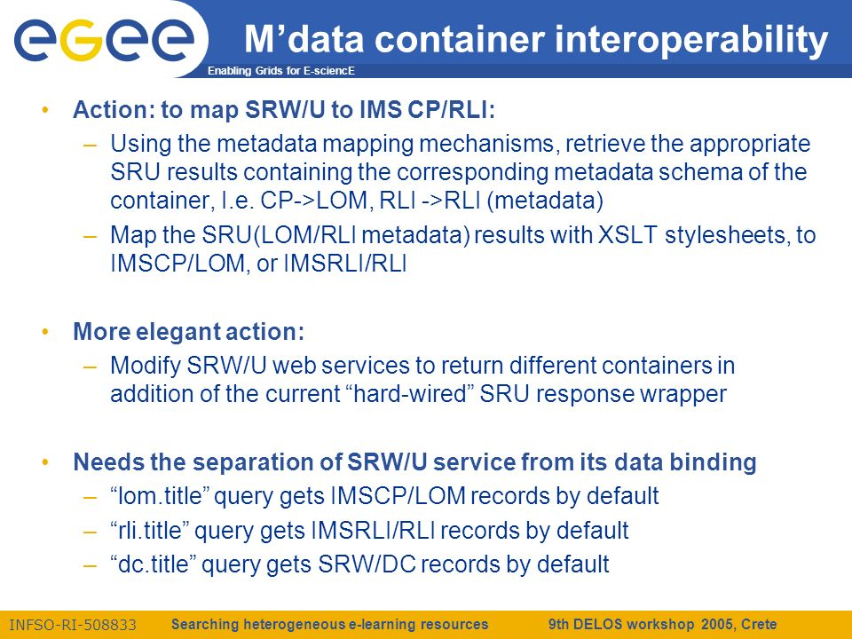 Enabling Grids for E-sciencE INFSO-RI-508833 Searching heterogeneous e-learning resources 9th DELOS workshop 2005, Crete Mdata container interoperability Action: to map SRW/U to IMS CP/RLI: –Using the metadata mapping mechanisms, retrieve the appropriate SRU results containing the corresponding metadata schema of the container, I.e.