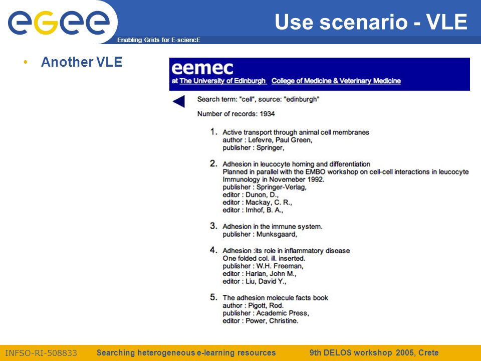 Enabling Grids for E-sciencE INFSO-RI-508833 Searching heterogeneous e-learning resources 9th DELOS workshop 2005, Crete Use scenario - VLE Another VLE