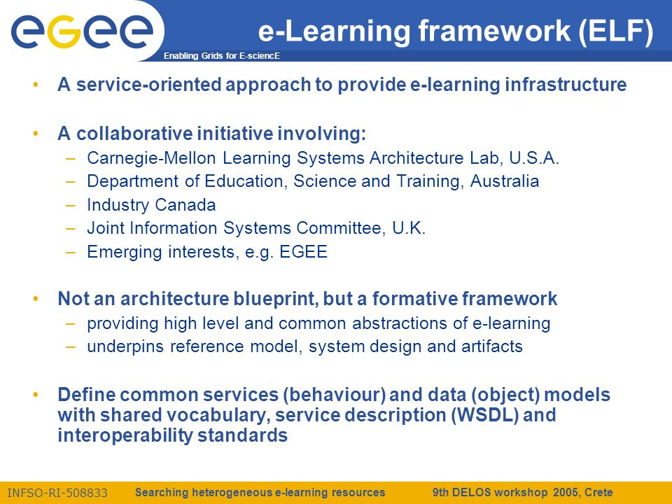 Enabling Grids for E-sciencE INFSO-RI-508833 Searching heterogeneous e-learning resources 9th DELOS workshop 2005, Crete e-Learning framework (ELF) A service-oriented approach to provide e-learning infrastructure A collaborative initiative involving: –Carnegie-Mellon Learning Systems Architecture Lab, U.S.A.