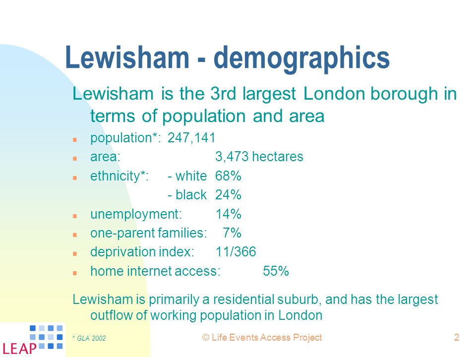 © Life Events Access Project2 Lewisham - demographics Lewisham is the 3rd largest London borough in terms of population and area n population*:247,141