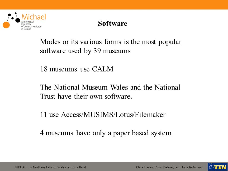 MICHAEL in Northern Ireland, Wales and Scotland Chris Bailey, Chris Delaney and Jane Robinson Software Modes or its various forms is the most popular