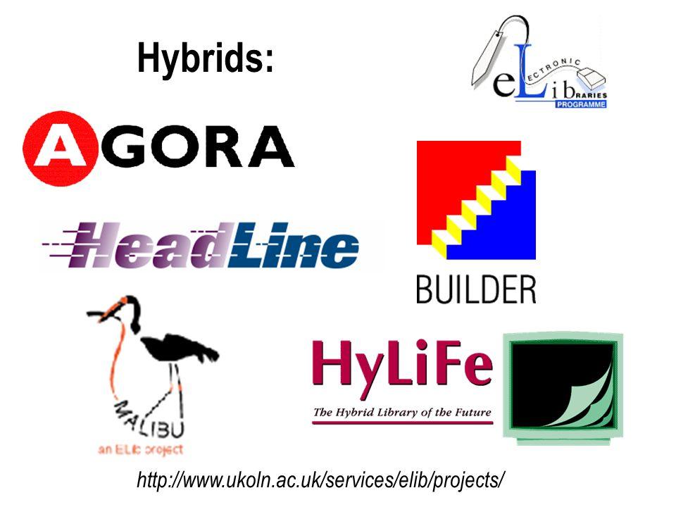 Hybrids: http://www.ukoln.ac.uk/services/elib/projects/
