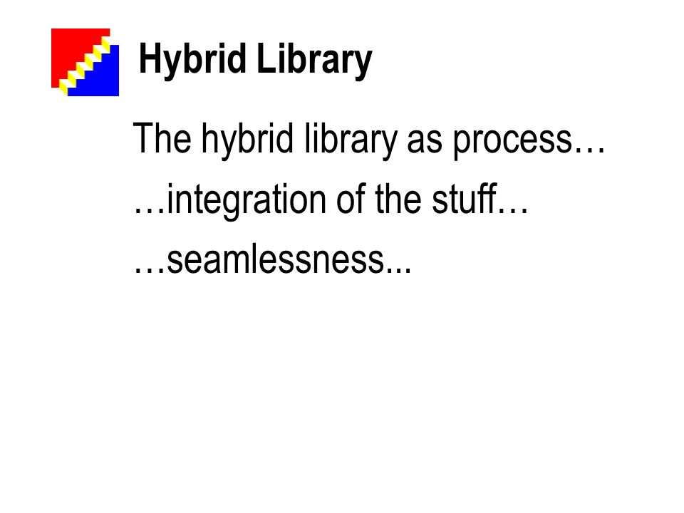 Hybrid Library The hybrid library as process… …integration of the stuff… …seamlessness...