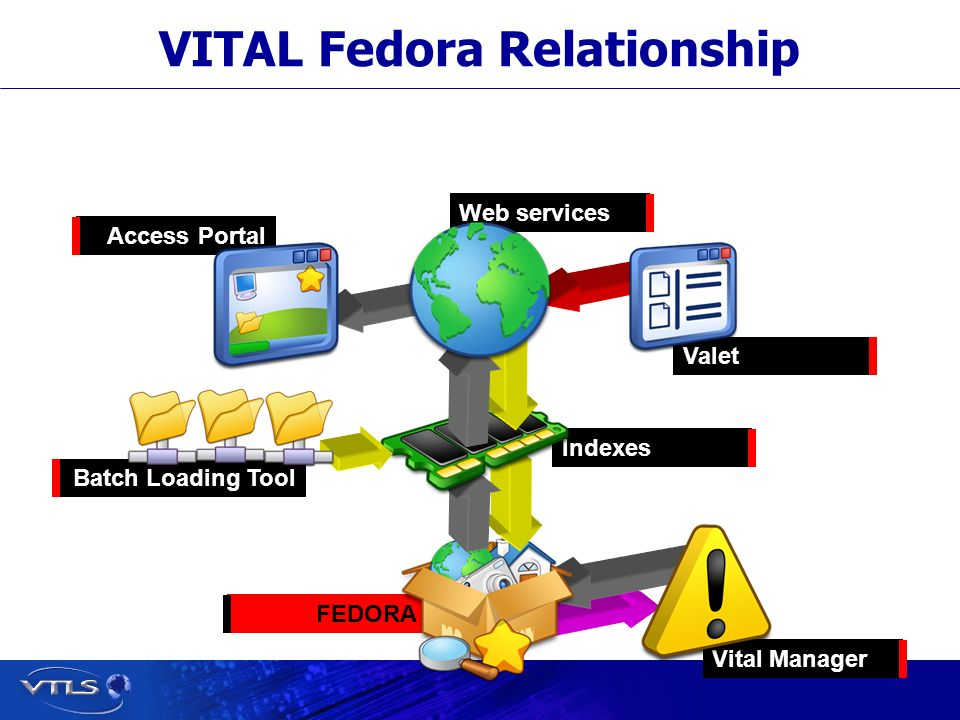 Visionary Technology in Library Solutions Vital Manager FEDORA VITAL Fedora Relationship Valet Access Portal Indexes Web services Batch Loading Tool