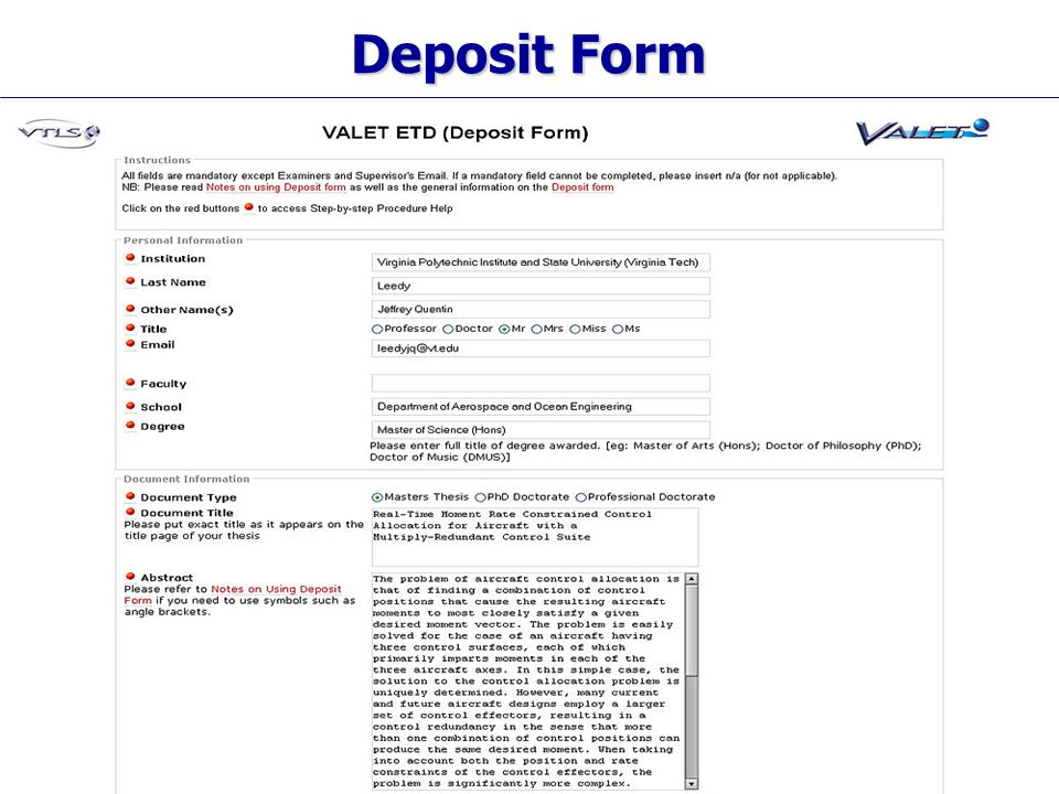 Visionary Technology in Library Solutions Deposit Form