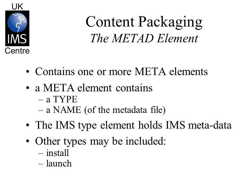 UK Centre Content Packaging The METAD Element METAD Meta-data (ims) Meta-data (install) Meta-data (launch)