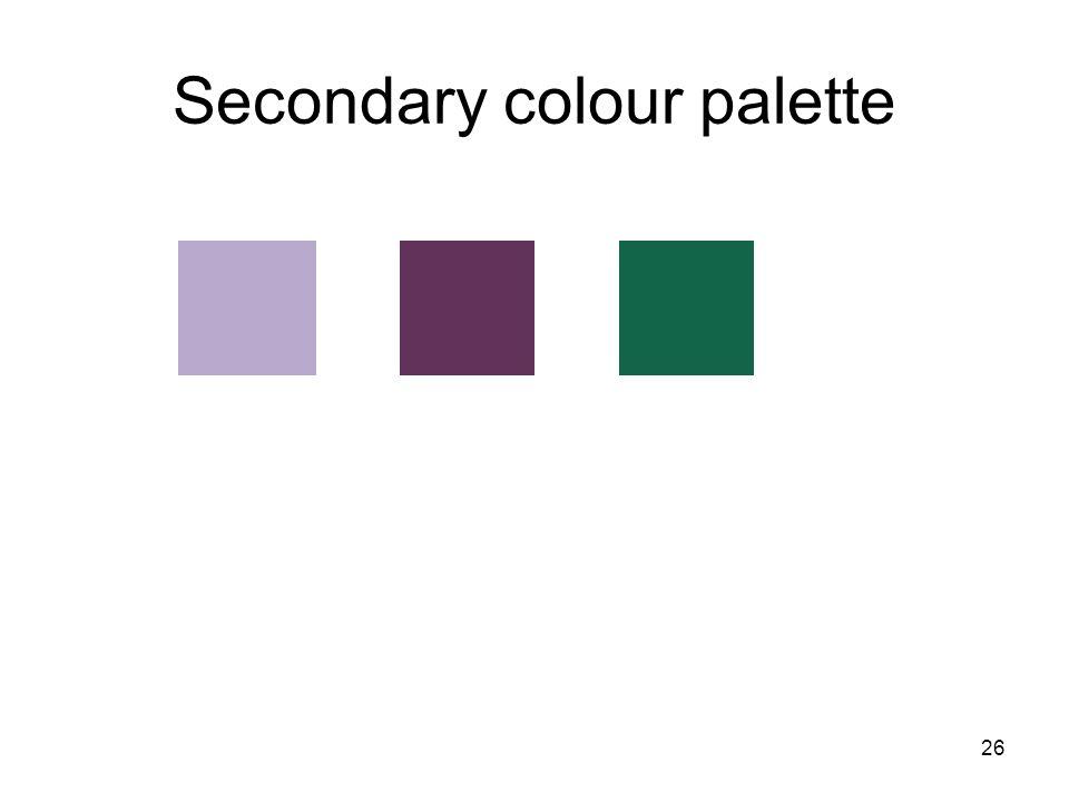 26 Secondary colour palette