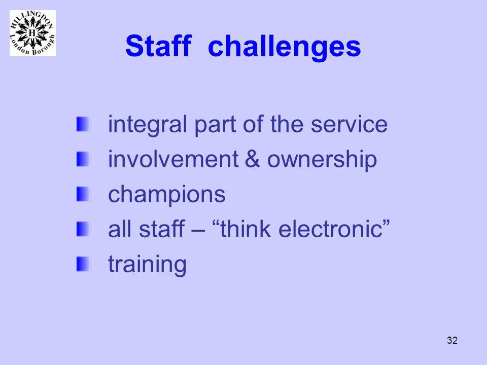 32 Staff challenges integral part of the service involvement & ownership champions all staff – think electronic training