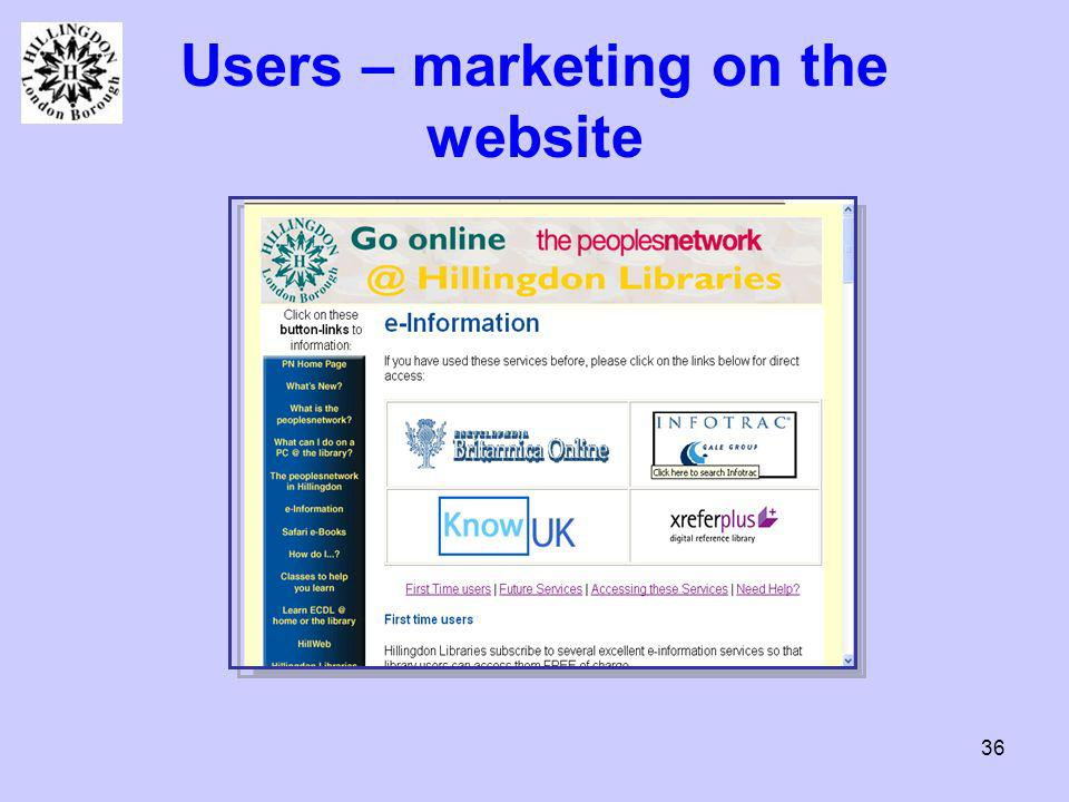 36 Users – marketing on the website