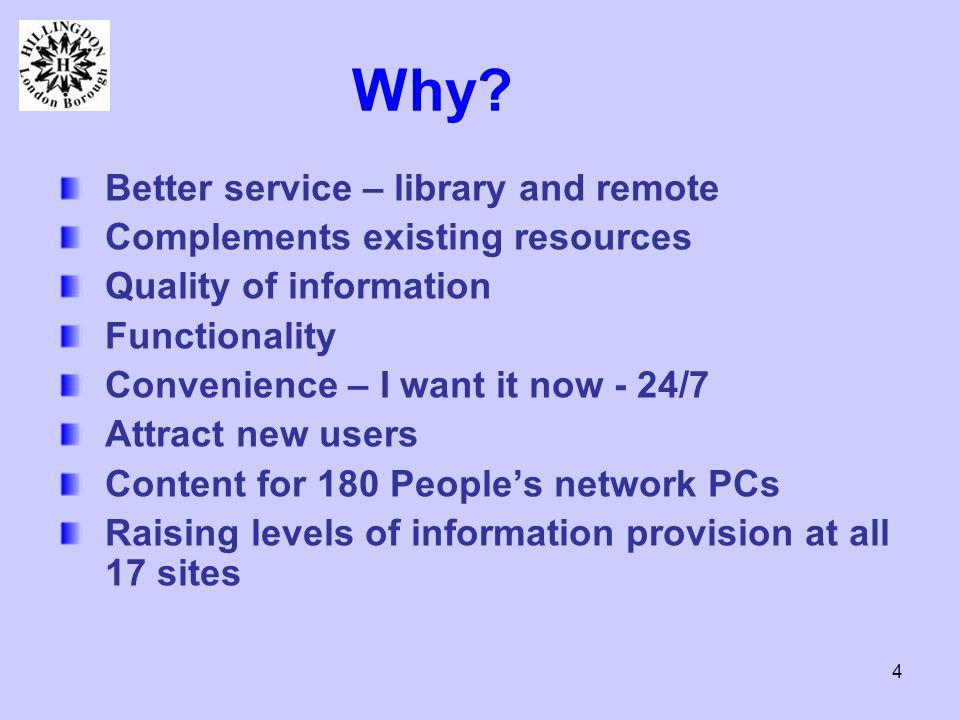 4 Why? Better service – library and remote Complements existing resources Quality of information Functionality Convenience – I want it now - 24/7 Attr